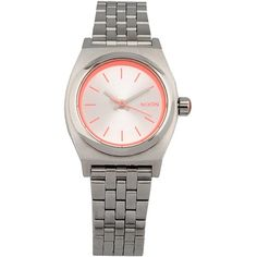 Nixon Wrist Watch ($115) ❤ liked on Polyvore featuring jewelry, watches, silver, stainless steel wrist watch, nixon wrist watch, stainless steel jewellery, nixon watches and nixon jewelry