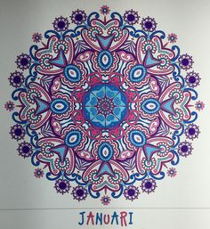 Creatie 2016-36, 26-12-2016 Verjaardagskalender mandala met Stabilo 68