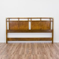 """This """"Drexel Heritage"""" headboard is featured in a solid wood with gorgeous glossy walnut finish. This king sized headboard is in great condition with faux bamboo trim, carved panels and shiny brass corners. Simple statement piece fit for a king! #traditional #beds #headboard #sandiegovintage #vintagefurniture"""