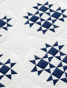 Wedding Quilt. Classic blue and white, traditional design, and gorgeous quilting. Wow!