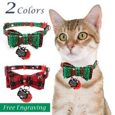 FREE Name Laser Engraving Pink Floral Personalized Cat Collar with Bow and Bell