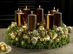 Christmas decor -  Adventskranz im bronzebraunen Kerzenschimmer