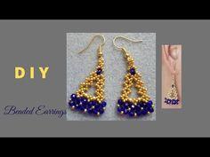 Diy Seed Bead Earrings, Beaded Earrings, Seed Beads, Beaded Jewelry Patterns, Beading Patterns, Earring Tutorial, Beading Tutorials, Jewelry Making, Jewels