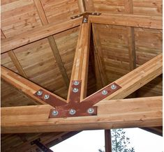 Glulam truss, example of wood in ceiling of peaked roof.