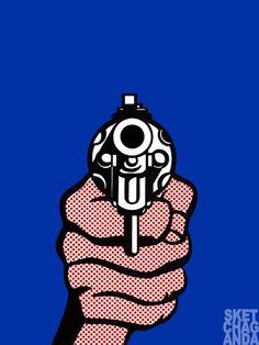 Lichtenstein's pistol gif by Sketchaganda Roy Lichtenstein Pop art