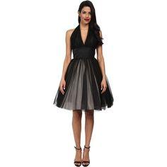 Unique Vintage Halter Midtown Cocktail Dress Women's Dress ($83) found on Polyvore featuring dresses, black, vintage dress, a line dress, vintage cocktail dress, open back cocktail dress and halter cocktail dress