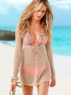 All about glamour: the Linen Beaded Cover-up from Victoria's Secret. Beading and sparkle at the deep v-neckline, a keyhole at the waist and bell sleeves make it extra alluring. Stitched in a linen blend for an airy look and feel.