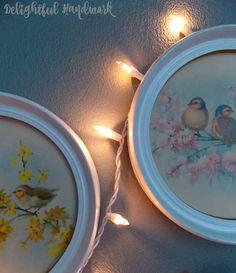 Vintage birdie illustrations & twinkle lights - Delightful Handwork