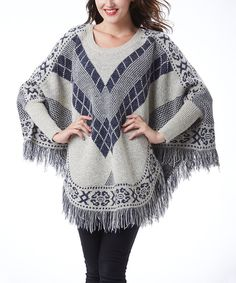 Another great find on #zulily! Simply Couture Beige Geometric Fringe Poncho by Simply Couture #zulilyfinds
