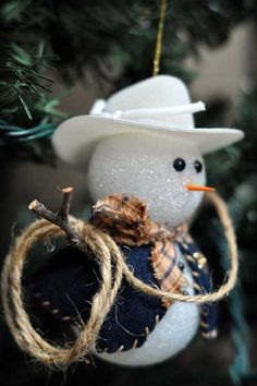 Cute cowboy snowman ornament :o)