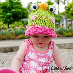 Amy the Frog Sun Hat - PDF Crochet Pattern - 6 sizes ( Newborn to Adult ) - cloche Hat Baby Child Adult Accessorie