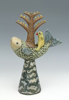 ceramic figure fish bird tree by Sara Swink Ceramic Birds, Ceramic Animals, Ceramic Pottery, Pottery Art, Ceramic Art, Painted Pottery, Fish Sculpture, Pottery Sculpture, Clay Fish