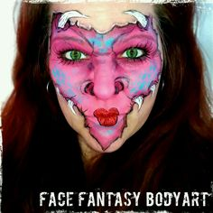Pink dragon facepaint by Face Fantasy BodyArt