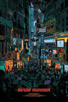 """Blade Runner by Kilian Eng / Facebook / Tumblr / Twitter / Début Art / Instagram / Store 24"""" x 36"""" 13 color screen prints, numbered regular edition of 85 and variant edition of 45. Private commission,..."""