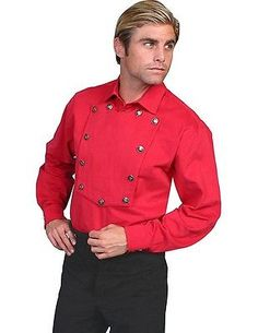 0ddc3a3796c Scully Western Shirt Mens Bib Twill Cotton Long Sleeve L Red 538720 Western  Outfits