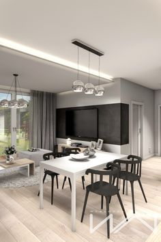 Project apartment Gdynia Wiczlino - Part 2 on Behance Home Design, Room Interior Design, Living Room Interior, Modern Contemporary Living Room, Contemporary Apartment, Kitchen Decor, Kitchen Design, Black And White Living Room, Living Room Tv