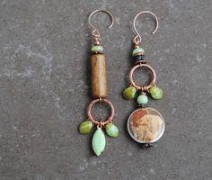 Copper Earrings, Boho Earrings, Earrings Handmade, Etsy Earrings, Handmade Jewelry, Diy Jewelry, Jewellery, Ceramic Beads, Czech Glass Beads