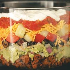 Tasty Layered Taco Salad...so good!! Changing the beef to ground turkey, chicken or pork.