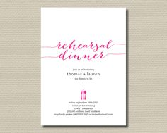 Printable Wedding Rehearsal Dinner Invitation - Pick your colours  (RD29). $18.00, via Etsy.