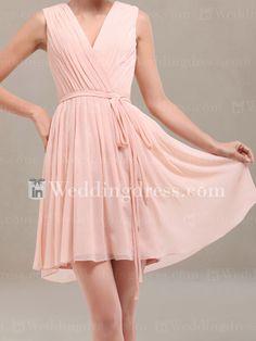 Chiffon Short Bridesmaid Dress_Peach Fizz