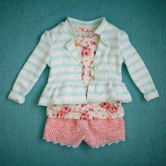 peplum jacket, flower shirt, lace shorts, light blue booties, SOOO cute, can I get one in my size?? made by Lexi Made