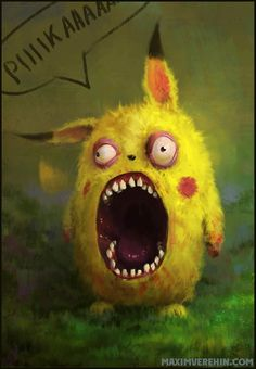 Creepy Pikachu – Illustration par Maxim Verehin