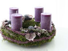 """Adventskranz - Adventskranz """"lila malve Komposition"""" - ein Designerstück von Meissner-Floristik bei DaWanda"""