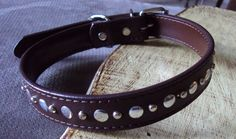 Dark Brown Leather Play BDSM Collar Silver Tone Studs Mature Bondage Kink Fetish Jewelry