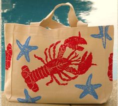 Red Lobster & Blue Starfish Canvas Tote Bag