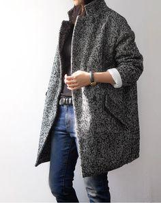 Herringbone coat & blue jeans