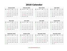 2018 Calendar printable    http://calendarprintablehub.com/2018-calendar.html