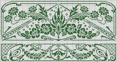 Two curtain patterns. Chart for filet crochet.