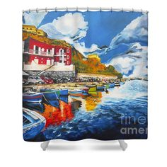 Shower Curtains - Porto di Acquamorta 1 Shower Curtain by Kevin J Cooper Artwork