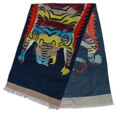 Charlotte Linton  TIGER    100% Wool delaine 200 cm X 65cm  £270