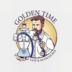 European Golden Time #logo #design #shisha #vape #hookah #character #European #Illustration #kardivisart