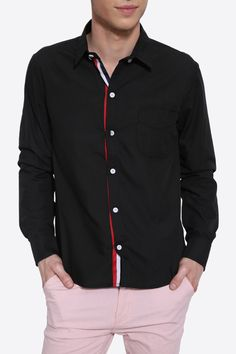 Slim Fit Tricolor Stripes Insert Long Sleeve Shirt In Black