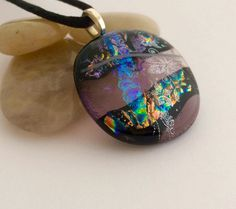 Round Transparent Purple Glass Pendant with by 3DGlassDesigns