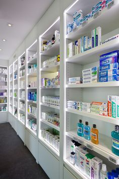 Small retail store design boutiques shelves luxury artipharma design & creation of your pharmacy Boutique Interior, Shop Interior Design, Design Clinique, Pharmacy Store, Online Pharmacy, Design Creation, Design Exterior, Counter Design, Clinic Design