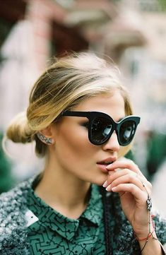 Cat Eye Glasses and a Low Bun