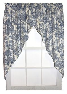 Victoria Park Toile print jabots window curtains are available in 3 toile print color patterns - red, blue & black. A popular jabot valance curtain with toile fabric can be ordered in 54 inch lengths. Curtains, Window Design, Window Curtains, Window Toppers, Country Style Curtains, Curtain Styles, Window Styles, Drapery Treatments, Valance Window Treatments
