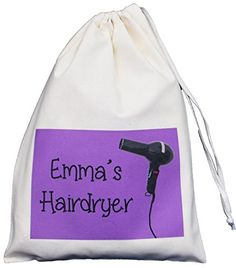 From 6.99 Personalised - Hairdryer Small Storage Bag - Purple Design - Small Natural Cotton Drawstring Bag - Supplied Empty