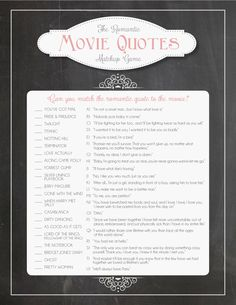 Bridal Shower Game: Romantic Movie Quotes Matchup (Instant Download!)  A fun, easy-to-print bridal shower game that lists a variety of romantic