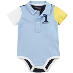Polo-style bodysuit made of soft cotton jersey. Contrast back and sleeves. Polo collar with a button strap on the chest. Short sleeves. Snap buttons at the crotch. Embroidered number 1 and Hackett logo on the front. - $ 41.00