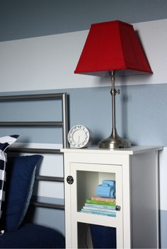V's room - red lampshade (check Target....they have simple silver base and should have coordinating red shade)