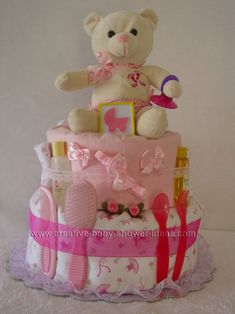 pink teddy bear baby carriage diaper cake