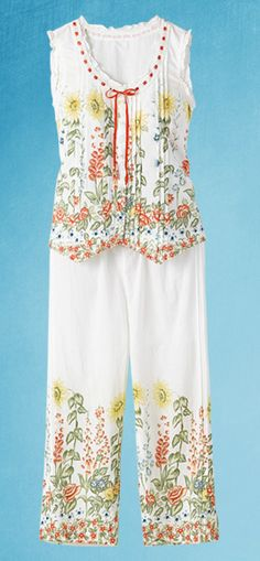 Wildflower Pajamas: A lively meadow blooms on these cool cotton pajamas. Top is detailed with a ribbon tie and flower buttons. Pants feature pintucked pleats on the side, elastic waist with drawstring.