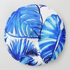 Bright Blue Jungle Leaves Floor Pillow