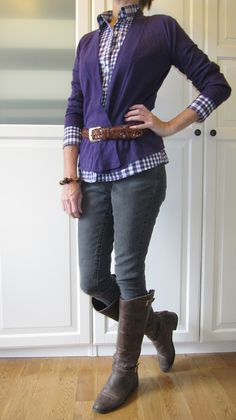 8791bd3ecc5 Cute outfit With purple cardigan and crisp shirt underneath. 40s Outfits