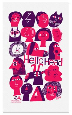 Marcus Oakley made this tea towel design for the exhibition Hello Head at Cargo London, arranged to raise money for the National Autistic Society. Graphic Design Illustration, Illustration Art, Bold Words, How To Dye Fabric, Dyeing Fabric, Mc Escher, Comic, Tea Towels, Dish Towels