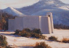 """SOLD-Images of faith are always of interest to artist Dix Baines.  """"Golden Light on Golden Church"""" depicts Golden Church, one of many churches found in New Mexico."""